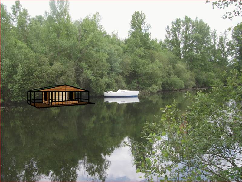 montage photo insertion de la maison proche du bateau de l\'étang