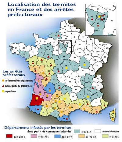 Carte de France des Termites