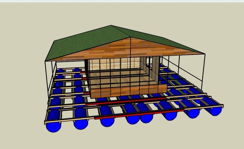 construction d'une petite maison flottante - Détail de construction