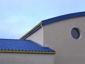 maison tuile laquee bleue
